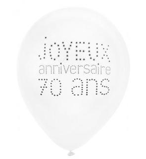 8 Ballons 70 ans Anniversaire chic