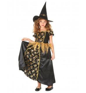 Déguisement sorcière noire et or  fille